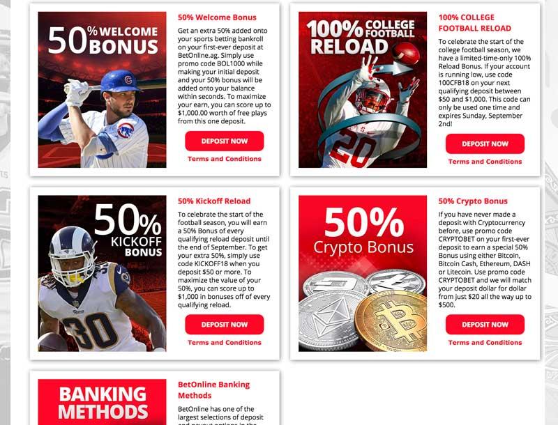 BetOnline Promotions Screenshot