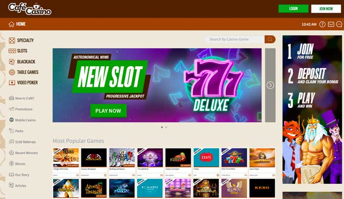 Cafe Casino HomePage Screenshot
