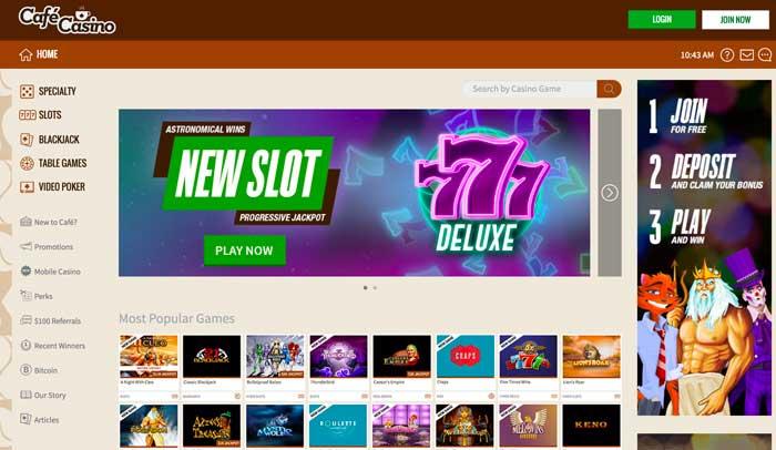 Cafe Casino HomePage Screenshot