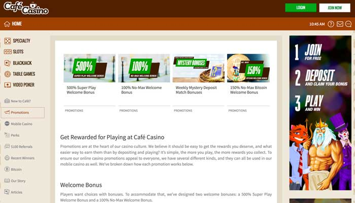 Cafe Casino Promotions Screenshot