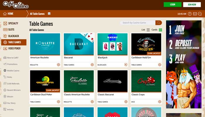Cafe Casino Table Games Screenshot
