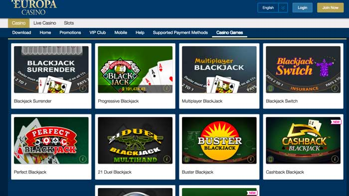 Europa Casino Blackjack Screenshot