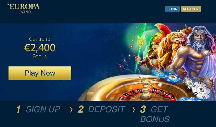 Europa Casino Homepage Screenshot