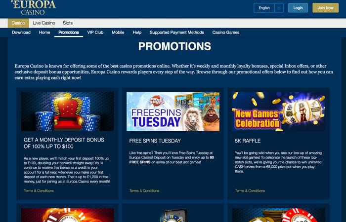 Europa Casino Promotions Screenshot