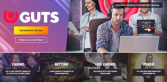 Guts Casino Welcome Page Screenshot