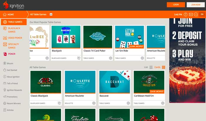 Ignition Casino Table Games Screenshot