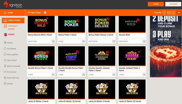 Ignition Casino Video Poker Screenshot