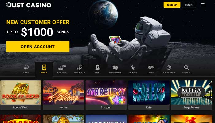 Just Casino HomePage Screenshot