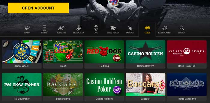 Just Casino Table Games Screenshot