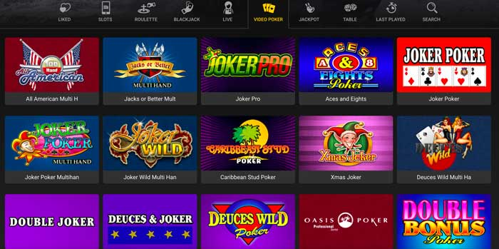 Just Casino Video Poker Screenshot