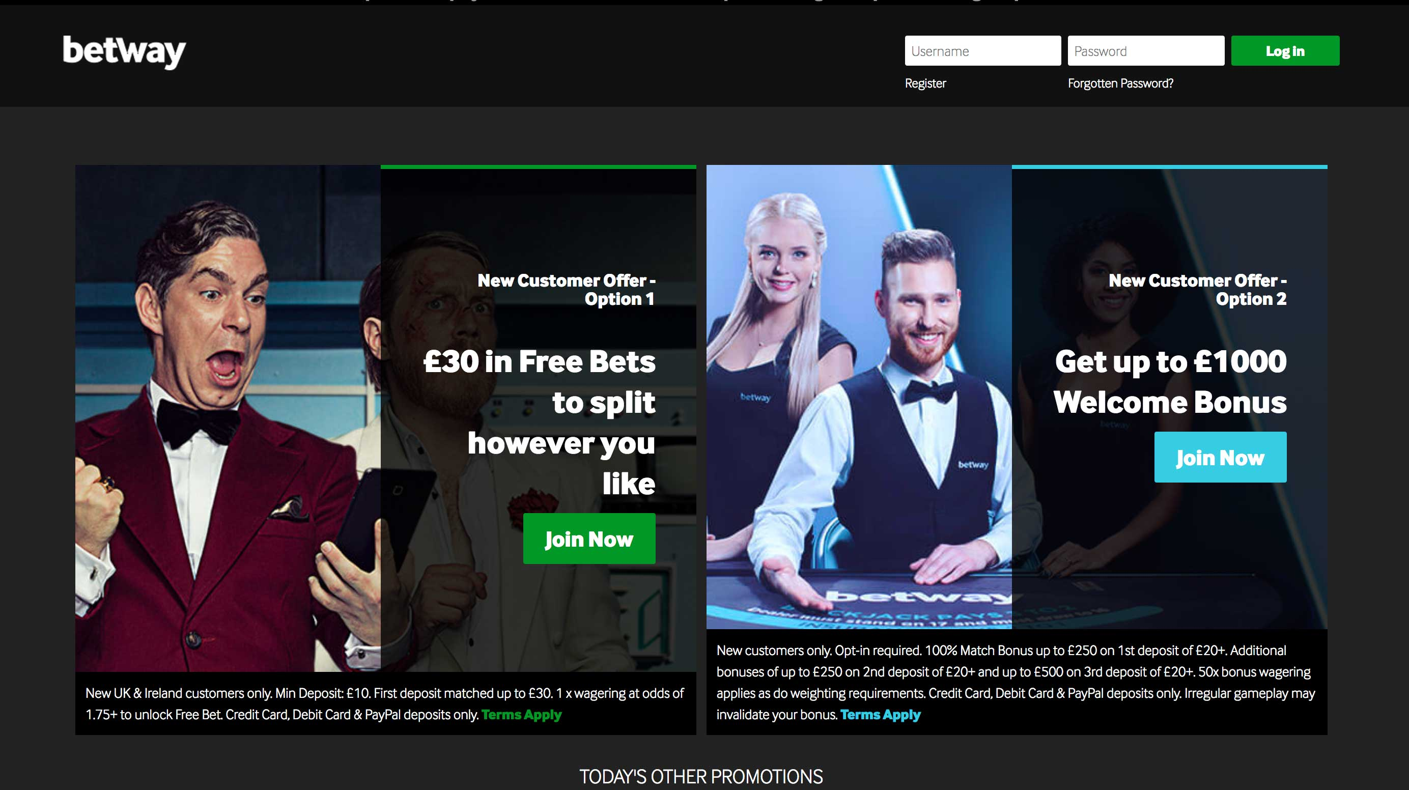 Betway Homepage Screenshot