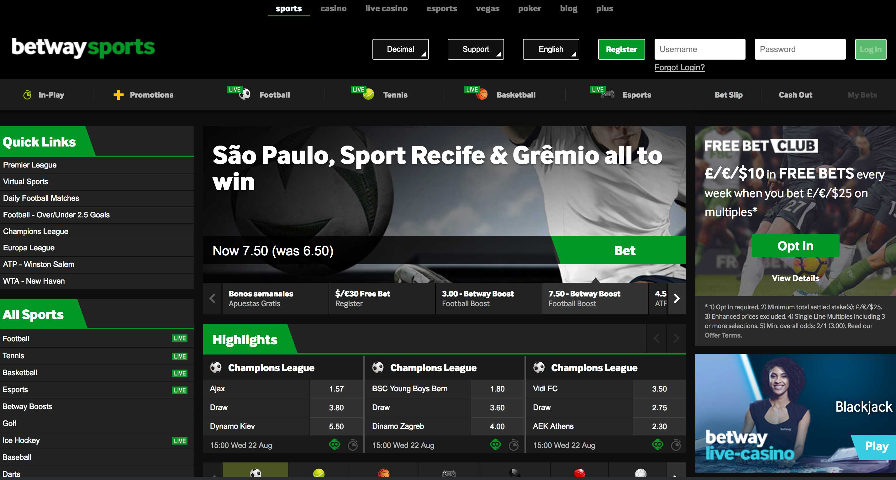 Betway Sportsbook Screenshot