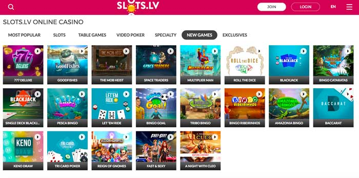 Slots.lv Casino New Games Screenshot