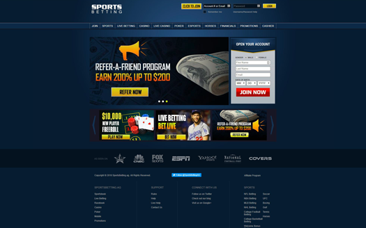 Sportsbetting.ag Homepage Screenshot