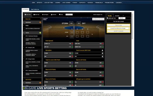 Sportsbetting.ag Live Betting Screenshot