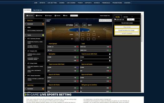 Sportsbetting.ag Live Betting Screenshot