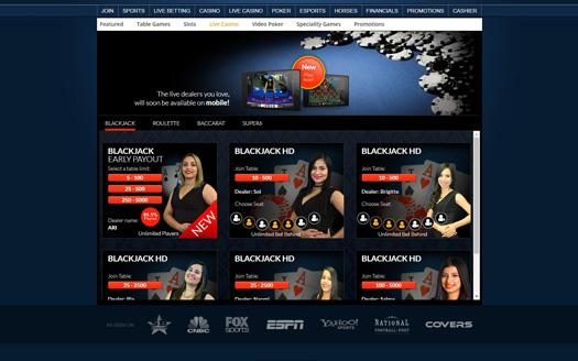 Sportsbetting.ag Live Casino Screenshot