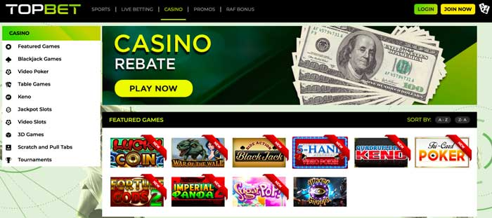 TopBet Home page Screenshot