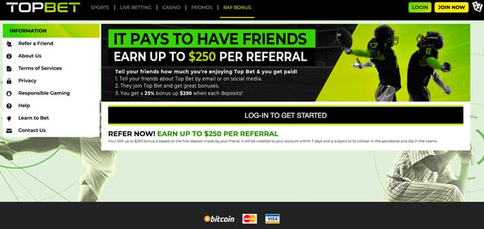 TopBet Refer A Friend Screenshot