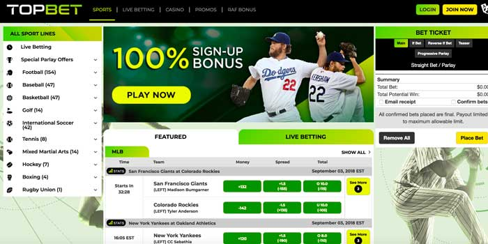 TopBet Sportsbook Screenshot