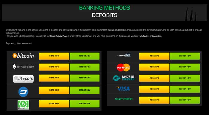 Wild Casino Deposits Screenshot