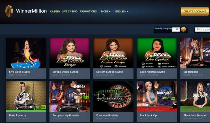 WinnerMillion Live Casino Screenshot